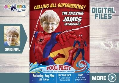 Spider-man Pool Party Invitation, Spiderman water slide party, Spider-man water Party, Spider-man digital, Spider-man thank you. 105