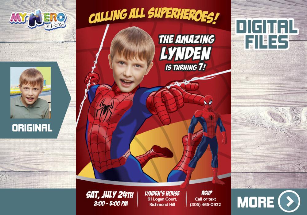 Spider-Man Birthday Invitation, Spider-Man Party Invitation, Spider-Man Digital, Spider-Man theme party, Spider-Man Thank you. 101