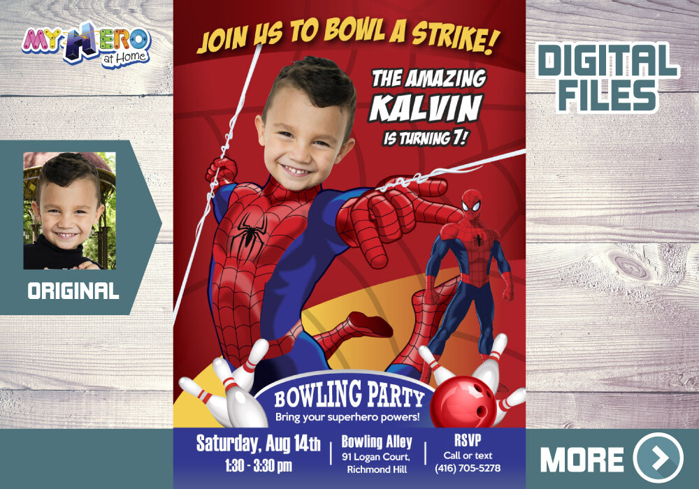 Spider-Man Bowling Party Invitation, Bowling Party themed Spider-Man, Avengers Bowling Party Invitation, Spider-Man thanks. 146