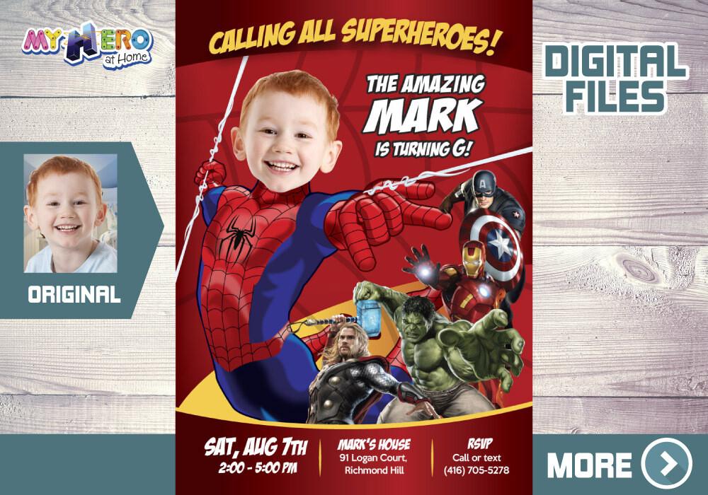 Spider-man Avengers Birthday Invitation, Spider-man Birthday, Spider-man Party, Spider-man Avengers Digital, Spider-Man Favor tags. 103
