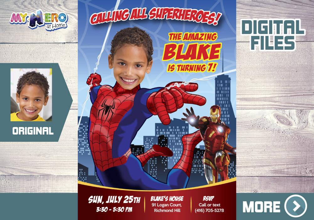 Spiderman Digital Invitation, Spider-man theme Party, Spider-Man Favor tags, Spiderman party favors, SpiderMan thanks. 137