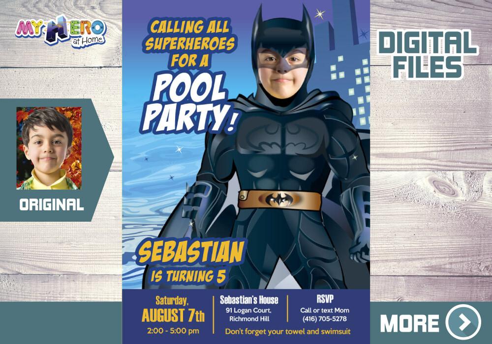 Batman Pool Party Invitation, Batman Summer party, Batman Water slide Party, Batman Digital, Batman Thank you. 355