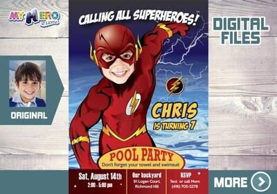 Flash Pool Party Invitation, Flash Birthday, Flash Water slide Party, Flash Splash Party, Flash Digital, Flash Thank you. 173