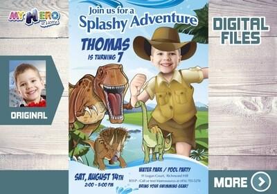 Dinosaurs Pool Party Invitation, T-Rex Pool party, Dinosaurs Adventure Party, Dinosaurs Digital Invitation, Dino Splashy Party. 210