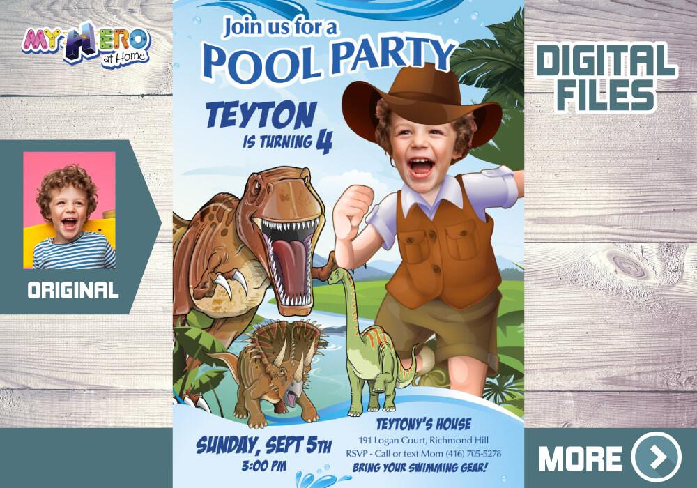 Dinosaurs Pool Party Invitation, Paleontologist Pool party, Dinosaurs Splash Party, Dinosaurs Digital, Dinosaurs thank you. 210B