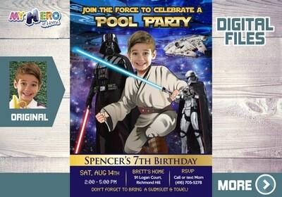 Star Wars Pool Party Invitation. Jedi Pool Party. Star Wars Splash. Star Wars Water Slide. Star Wars digital. Jedi Thank you. 016