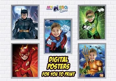 Customs Posters of Superman, Batman, Aquaman, Flash, Green Lantern, Superheroes Wall Decor, Justice League Party, Justice League Decor. 463B
