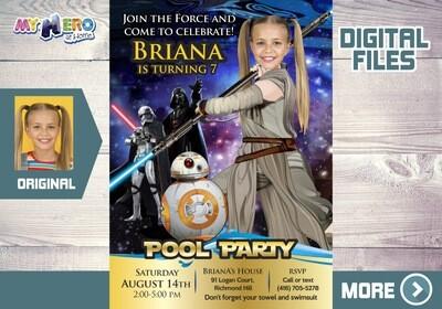 Jedi Rey Pool Party Invitation. Star Wars Pool Party. Pool Party themed Star Wars. Jedi Rey Digital Invitation. Jedi Rey Bday Party. 015