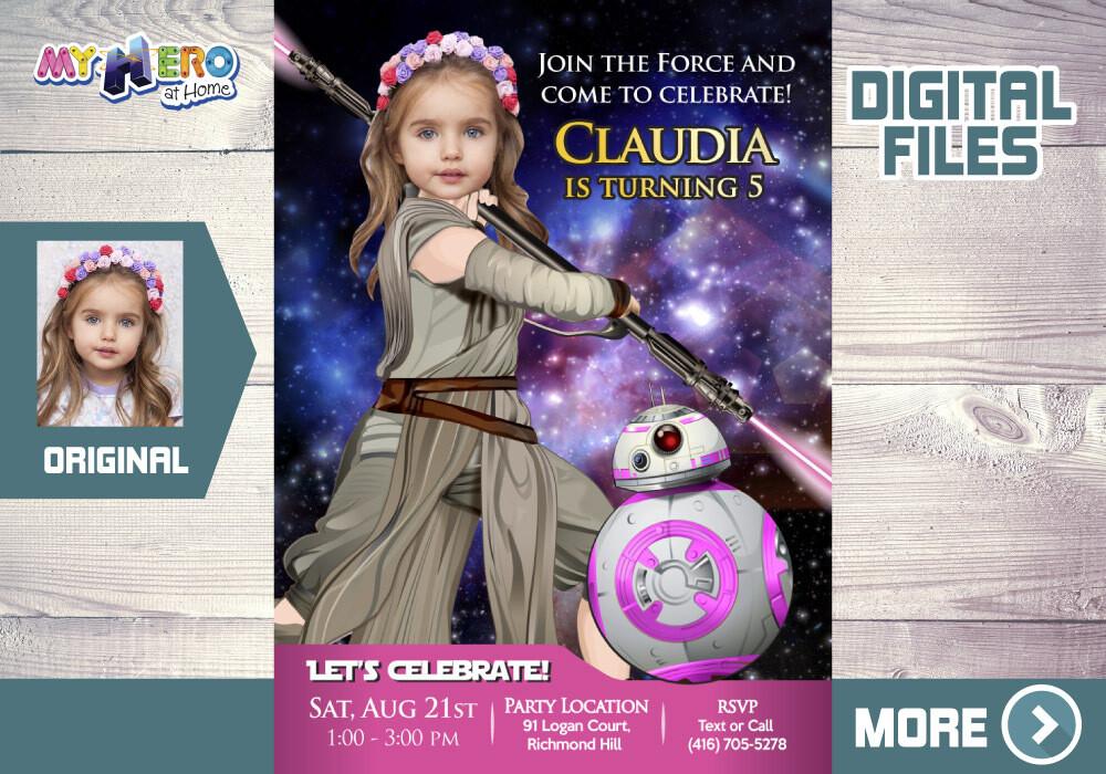 Star Wars Pink bday Invitation, Jedi Rey Pink Invitation, Pink BB8 Invitation, Pink Star Wars Party, Pink Jedi Rey theme party. 392