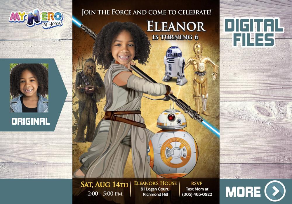 Jedi Rey Bday Invitation, Jedi Rey Digital, Jedi Rey Thank You, Jedi Rey theme party, Jedi Rey party favors, Jedi Rey favor tags. 012