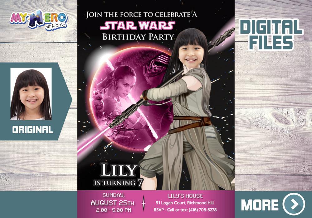 Jedi Rey Pink and Black Party Invitation. Jedi Rey Bday Invitation. Jedi Rey pink black Party. Star Wars Pink and Black Invitation. 010