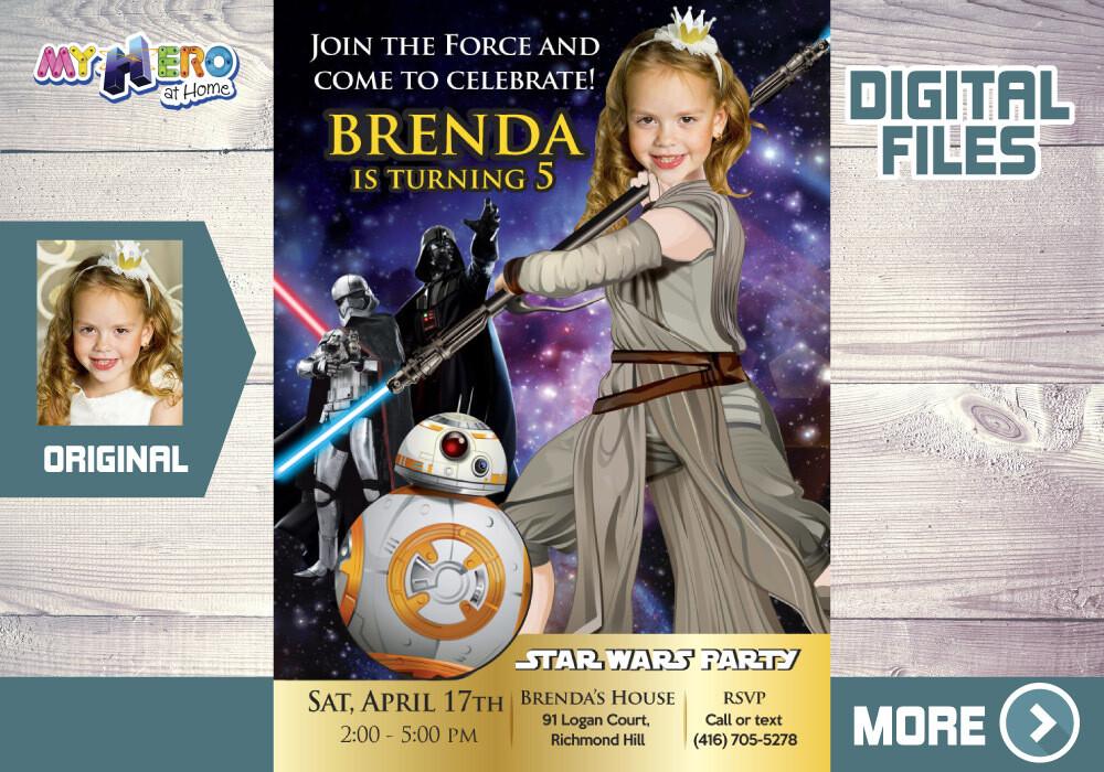 Jedi Rey bday Invitation. Jedi Rey Party invitation. Jedi Rey digital. Jedi Rey theme party. Jedi Rey favors. Girl Star Wars bday. 006
