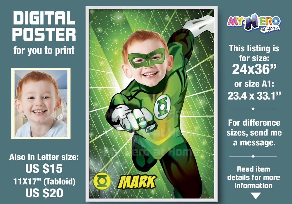 Green Lantern Poster, Green Lantern Decoration, Green Lantern Gifts Fans, Justice League Decor. Green Lantern Party Decor. 482B