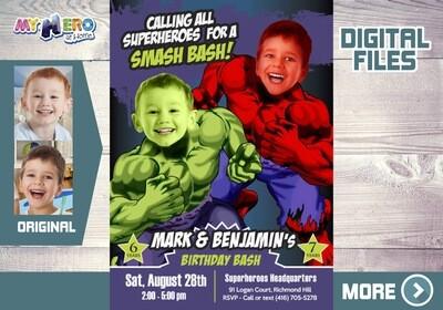 Joint Red Hulk and Green Hulk Party, Hulk Siblings Birthday, Joint Hulk Invitation, Hulk Siblings Invitation, Hulk Joint Party. 418B