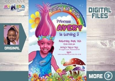 Trolls Birthday Invitation, Princess Poppy Invitation, Trolls Thank You, Trolls Party, Princess Poppy Party, Trolls favor tags. 200