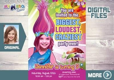 Trolls birthday Invitation, Biggest, loudest, craziest Party, Princess Poppy digital, Trolls Birthday ideas, Princess Poppy favor tags. 202