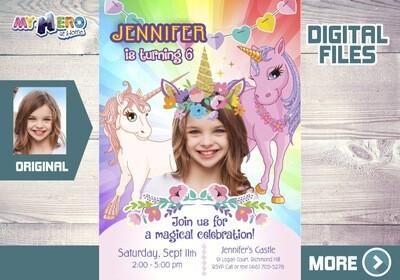 Unicorns Birthday Invitation, Unicorns theme Party, Unicorns digital, Unicorns Party favors, Unicorns giveaway, Unicorns Bday Invite. 286