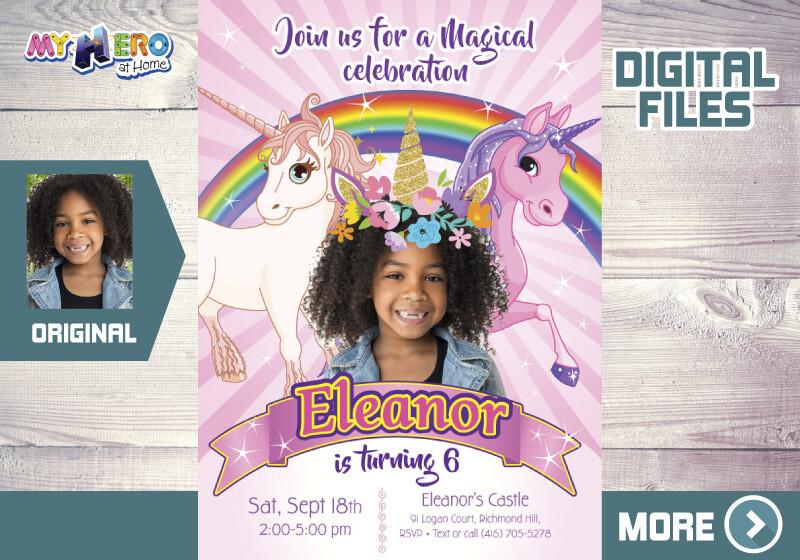 Unicorns Bday Invitation, Unicorns Photo invitation, Unicorn Party, Rainbow bday invitation, Unicorns thank you, Unicorns favor tags. 285