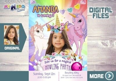 Unicorns Bowling Party Invitation, Unicorns Bowling Party, Unicorns Bowling theme party, Unicorns digital, Unicorns goodie bags. 287
