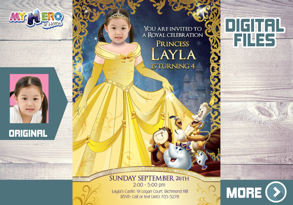 Princess Belle Bday Invitation, Princess Belle Party, Beauty and the Beast bday Invitation, Princess Belle party, Belle thank you card. 255