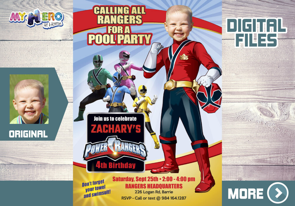 Power Rangers Pool Party Invitation, Red Power Ranger Party, Power Rangers Theme pool party, Rangers Water slide, Rangers Digital Invitation. 001P