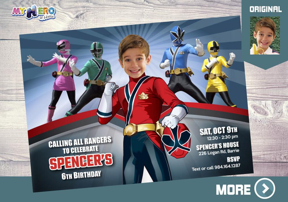 Power Rangers Bday Invitation, Power Rangers Theme party, Power Rangers thank you, Power Rangers favor tags. 002