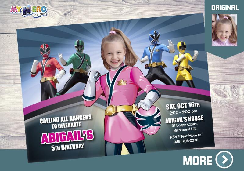 Girl Power Rangers Birthday Invitation, Pink Power Rangers Party, Power Rangers party favors, Power Rangers Digital Invitation. 059