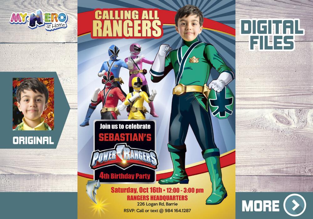 Green Power Rangers Bday Invitation, Green Power Ranger Party, Power Rangers favor tags, Power Rangers Digital. 415