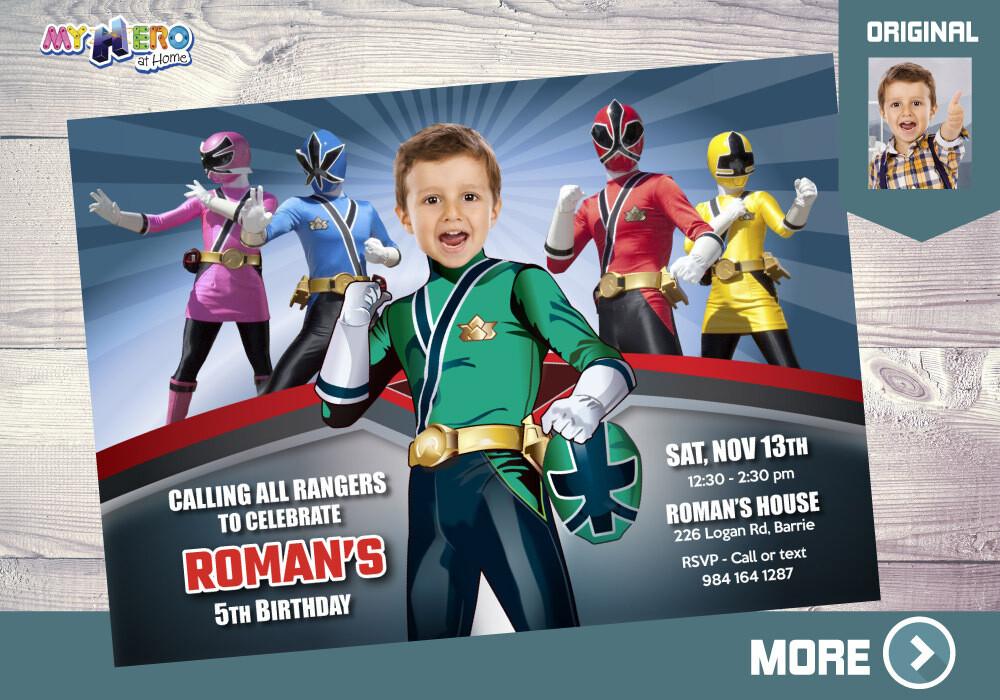 Green Power Rangers Bday Invitation, Green Power Ranger theme Party, Power Rangers giveaway, Rangers Digital, Power Rangers favor tags. 414