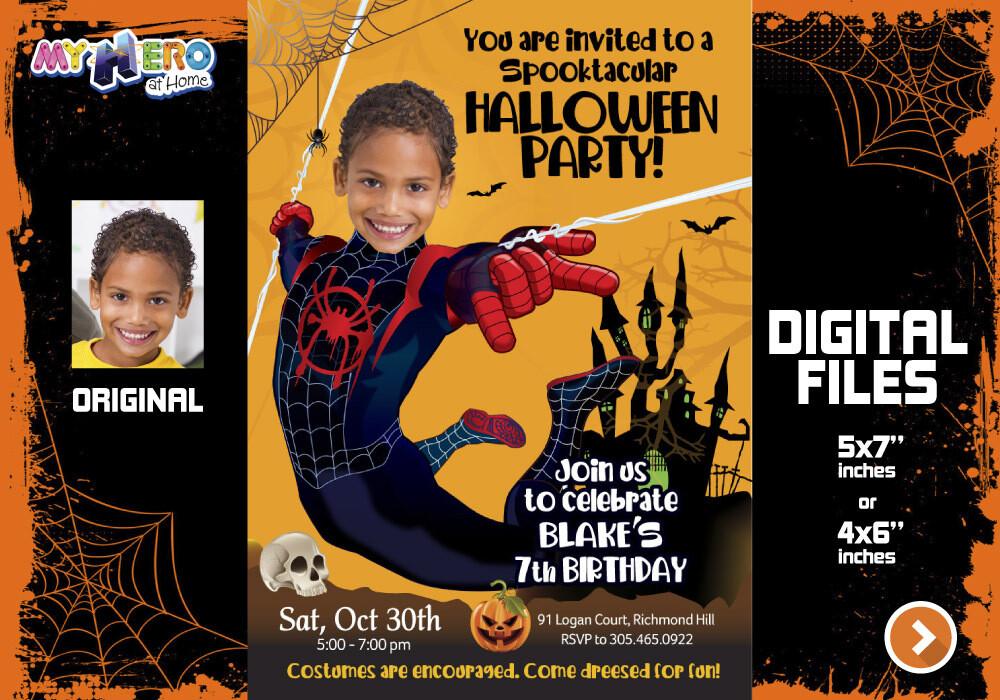 Miles Morales Digital Invitation, Miles Morales Halloween Party, Miles Morales Thank You, Miles Morales favor tags. 466A