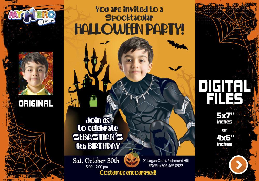 Black Panther Halloween Party, Black Panther Digital Invitation, Avengers Halloween Invitation, Black Panther Bday Halloween. 466D