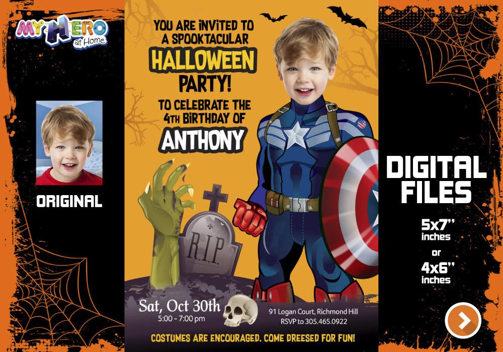 Captain America Halloween Party, Captain America Digital, Captain America Bday Invitation, Captain America thank you. 466F