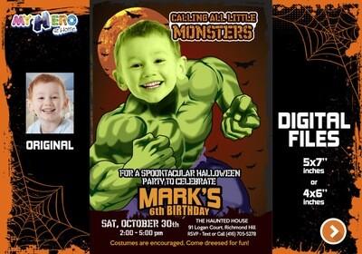 Hulk Halloween Invitation, Hulk Halloween Party, Avengers Halloween Party, Hulk Halloween Birthday, Hulk halloween theme party. 091