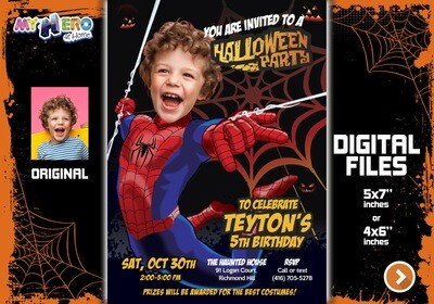 Spider-Man Halloween Party Invitation, Halloween Party Spiderman, Avengers Halloween Party, Spider-Man thank you, Spider-Man favor tags. 104