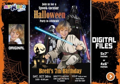 Star Wars Halloween Invitation, Star Wars Halloween Party, Halloween Star Wars birthday, Jedi Halloween Birthday, Halloween Jedi Party. 032N