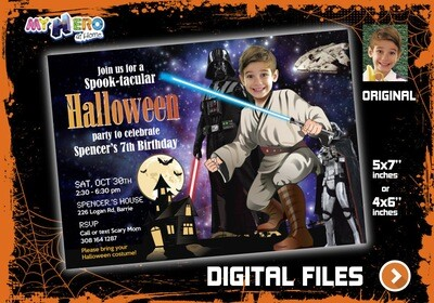 Star Wars Halloween Invitation, Star Wars Halloween Party, Halloween Star Wars birthday, Jedi Halloween Birthday, Halloween Jedi Party. 032