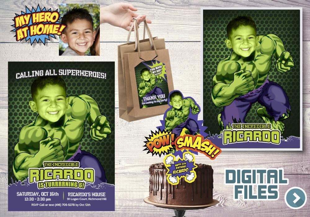 Hulk Party Pack, Hulk Birthday Invitation, Hulk thank you card, Hulk cake topper, Hulk Poster, Hulk favor tags, Hulk theme Party. 089P