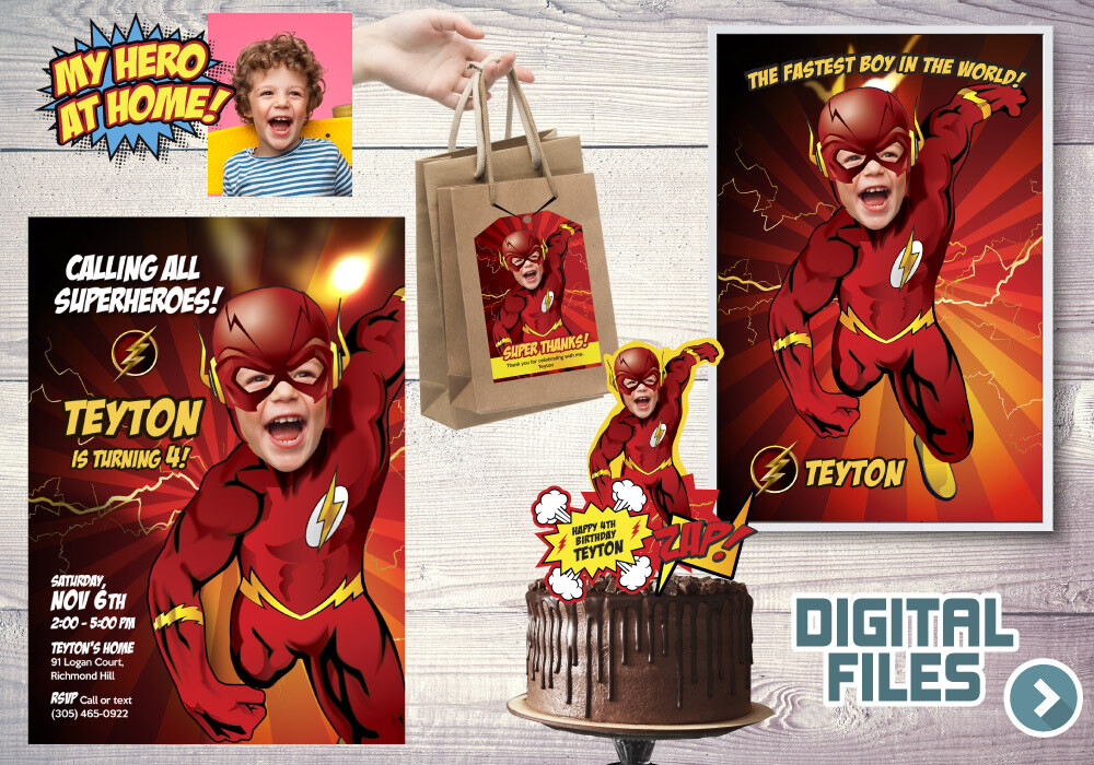 Flash Party Pack, Flash Birthday Invitation, Flash thank you card, Flash cake topper, Flash Poster, Flash favor tags, Flash theme Party. 149P