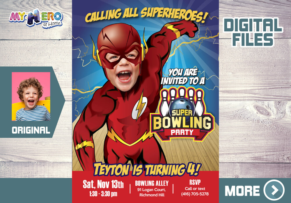 Flash Bowling Party Invitation, Flash Birthday, Flash Bowling Party, Flash theme Party, Flash Digital, Flash Thank you. 149B