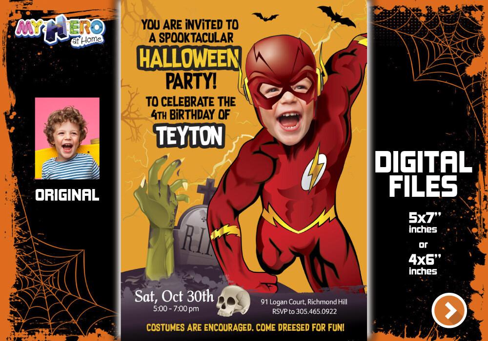 Flash Digital Invitation, Flash Halloween Party, Halloween Superheroes theme, Flash Thank You, Flash favor tags. 466G