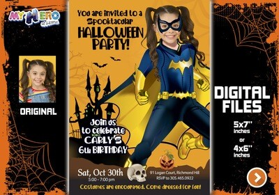 Batwoman Halloween Party, Batwoman Digital Invitation, Halloween Super hero girls theme, Batwoman Thank You, Batwoman favor tags. 466B