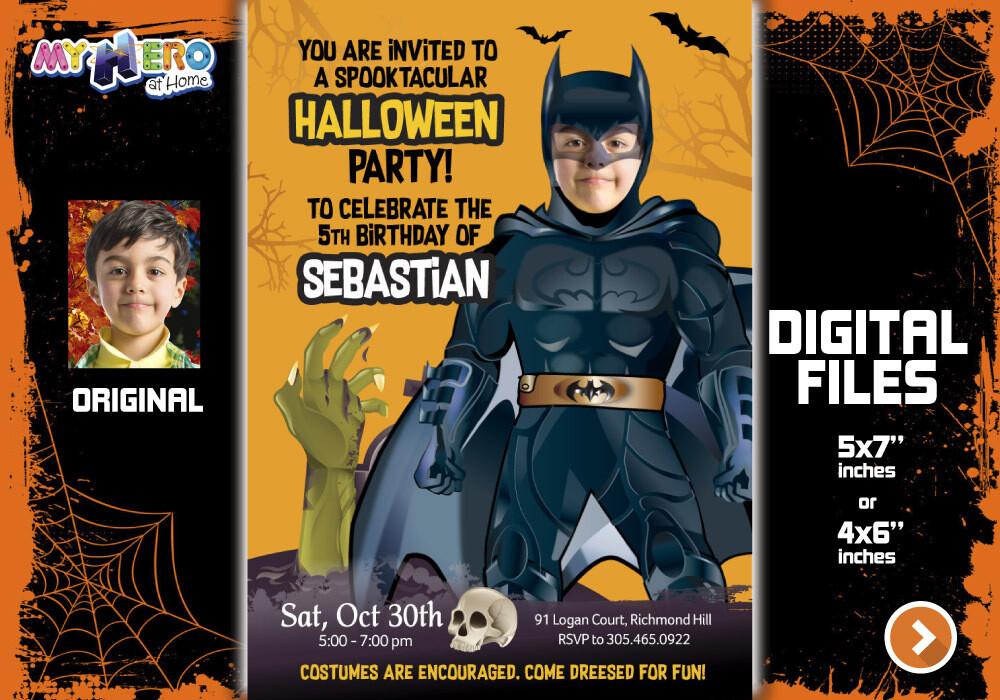 Batman Digital Invitation, Batman Halloween Party, Halloween Superheroes theme, Batman Thank You, Batman favor tags. 466C