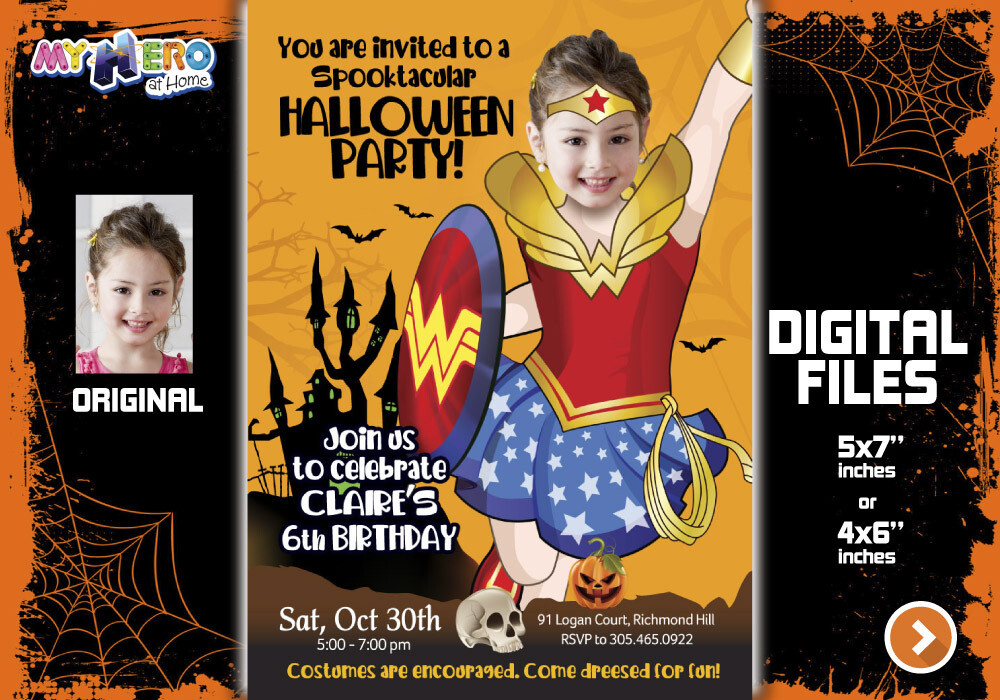 Wonder Woman Halloween Party, Wonder Woman Digital Invitation, Halloween Super hero girls theme, Wonder Woman Thank You, Wonder Woman favor tags. 466E