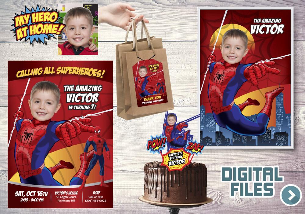 Spider-Man Party Pack, Spider-Man Birthday Invitation, Spider-Man thank you, Spider-Man cake topper, Spider-Man Poster. 101P