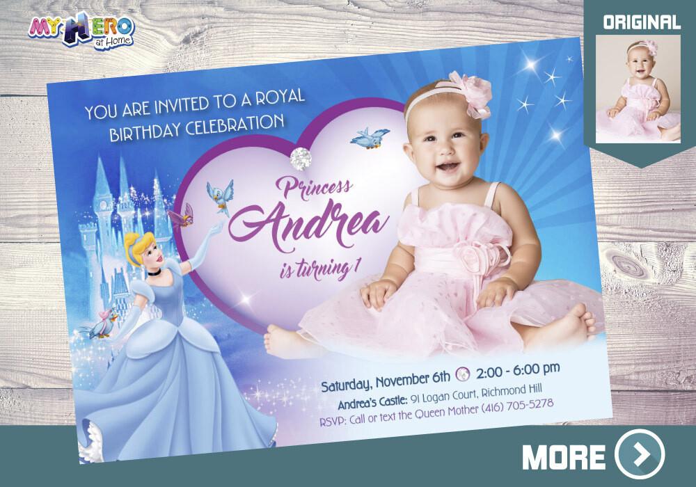 Cinderella 1st Birthday Invitation, Baby Cinderella Party Invitation, Cinderella thank you, Cinderella digital, Cinderella favor tags. 261
