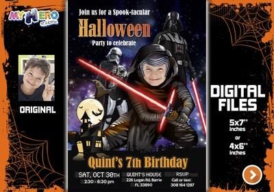 Kylo Ren Halloween Invitation, Kylo Ren Halloween Party, Halloween Star Wars bday, Kylo Ren Halloween party, Kylo Renr Party. 457H