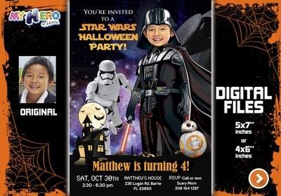 Darth Vader Halloween Invitation, Star Wars Halloween Party, Halloween Star Wars bday, Darth Vader Halloween party, Darth Vader Party. 009H