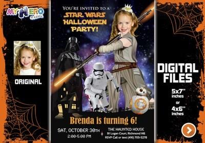 Jedi Rey Star Wars Halloween Party Invitation, Jedi Rey Halloween Party, Halloween Black and Orange themed party, Girl Star Wars Halloween. 033