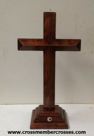 Single Layer Beveled Wooden Table Crosses Two Sided - 8""