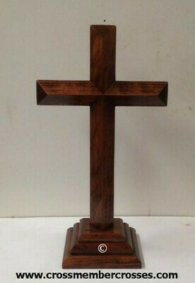 Single Layer Beveled Wooden Table Crosses Two Sided - 8